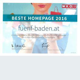 WKO Award - Beste österreichische Homepage Handel mit Mode und Freizeit 2016