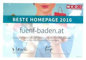 Beste Homepage 2016 für fünf! concept store in Baden bei Wien