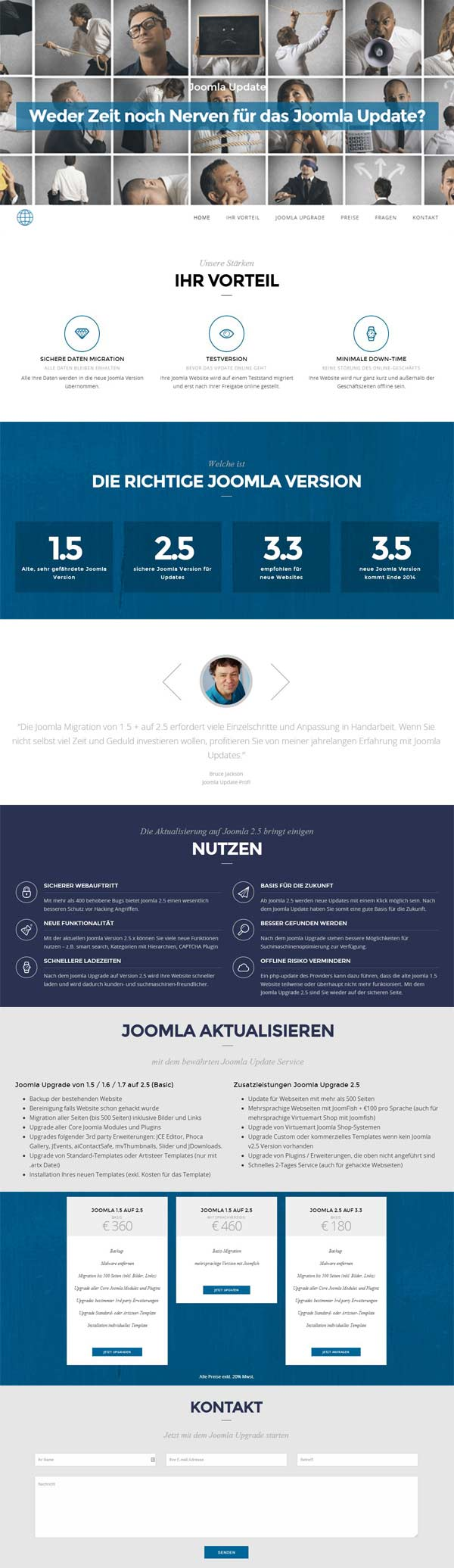 One-Page Wordpress Homepage Bezirk Baden