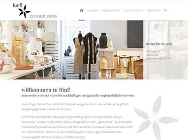 Webdesign Homepage Anbieter für Shop - fünf! baden