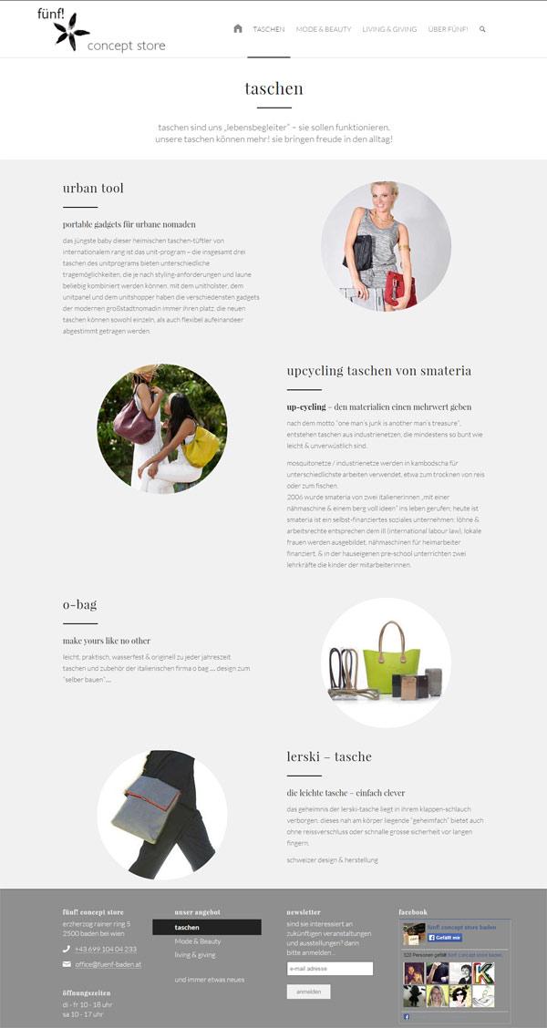 webdesign referenz fünf! concept store baden