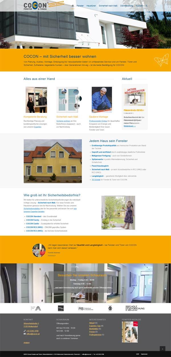 Referenz Homepage cocon Niederösterreich Wien
