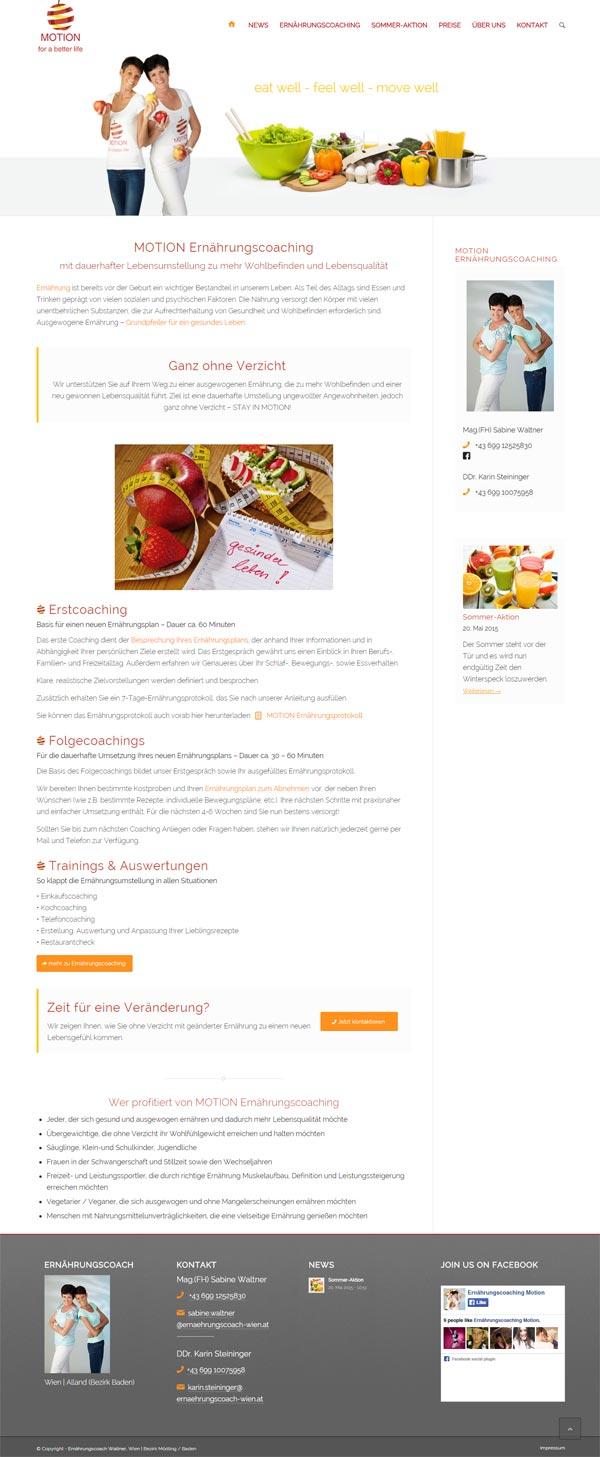 Website erstellen für MOTION Ernährungscoaching - Wien
