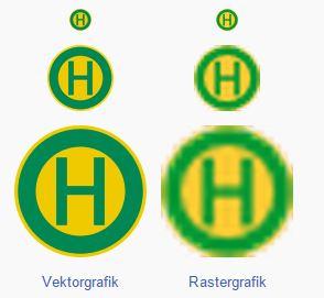 Vergleich Vektorgrafik mit Rastergrafik bei Vergrößerung
