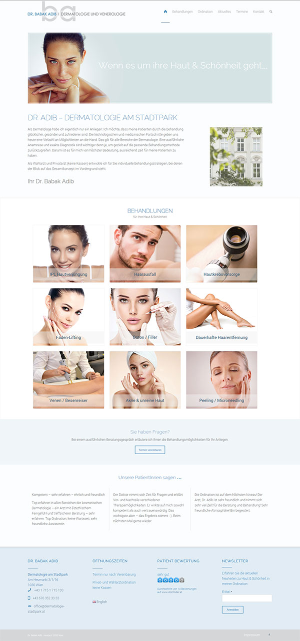Webdesign Arzt Wien Referenz - Hautarzt 1030 Wien