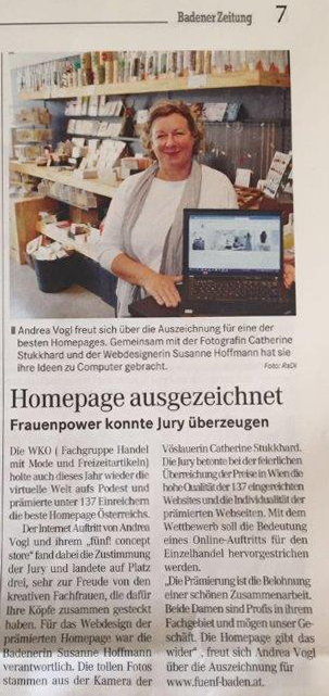 Artikel über Top 3 Beste Homepage in Badner Zeitung 2016-06-05