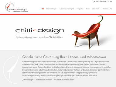 Homepage Webdesign für Chilli Interior Design - Wiener Neustadt