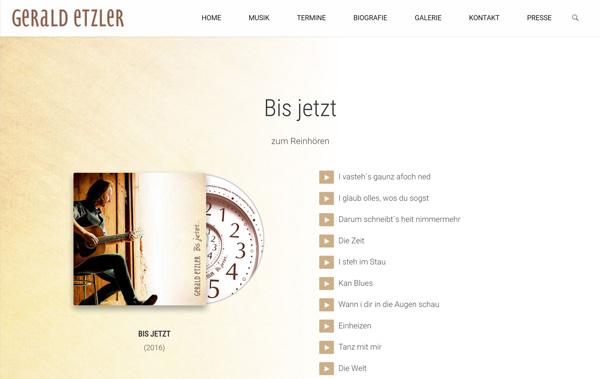 Homepage für Musiker Gerald Etzler mit Hörproben
