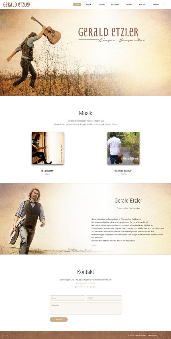 Homepage für Musiker Gerald Etzler