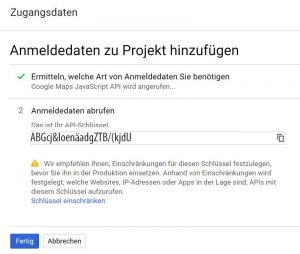 Google Maps API Key erstellt