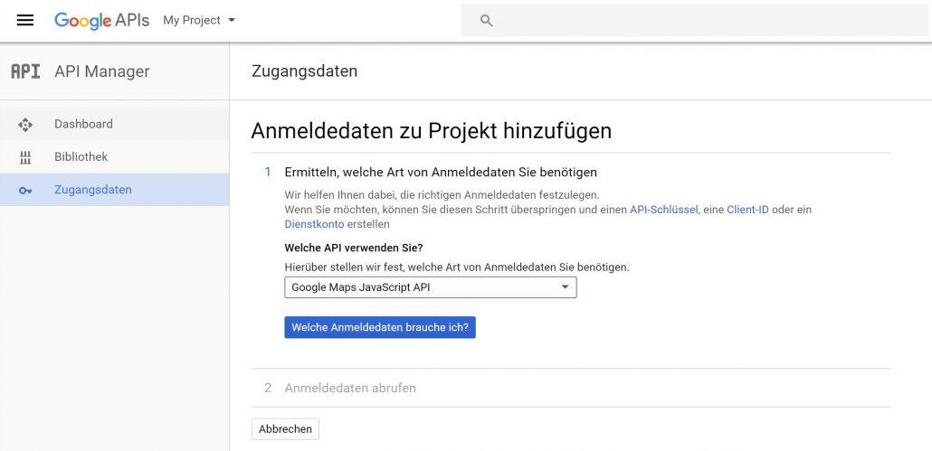 Google Maps API Key - Manager für Zugangsdaten