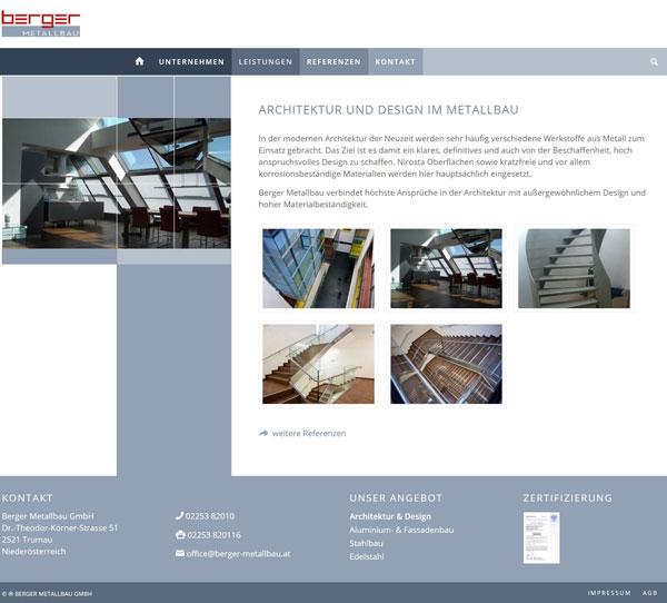 Homepage erstellen lassen - Referenz Berger Metallbau Detailseite mit Galerie