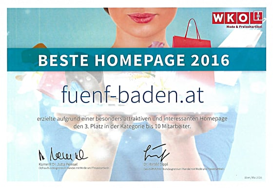 Beste Homepage Webdesign Winner 2016